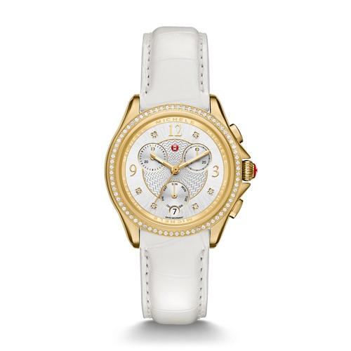 Michele Belmore Chrono Diamond Gold, Diamond Dial White Alligator Watch Mww29b000010 Silver