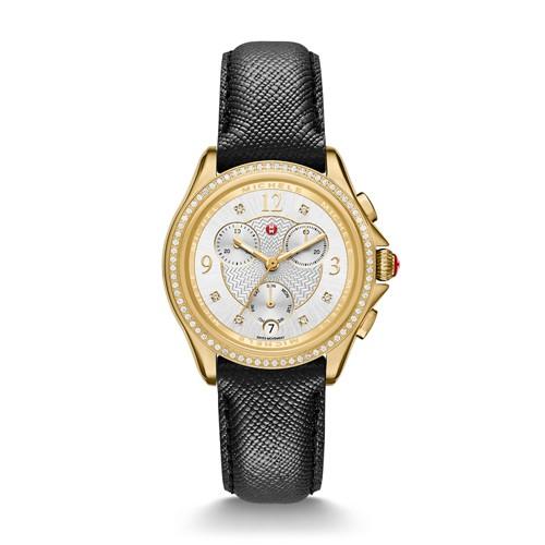 Michele Belmore Chrono Diamond Gold, Diamond Dial Black Leather Watch Mww29b000011 Silver