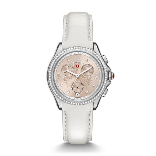 Michele Belmore Chrono Diamond, Beige Diamond Dial White Alligator Watch Mww29b000014 Beige
