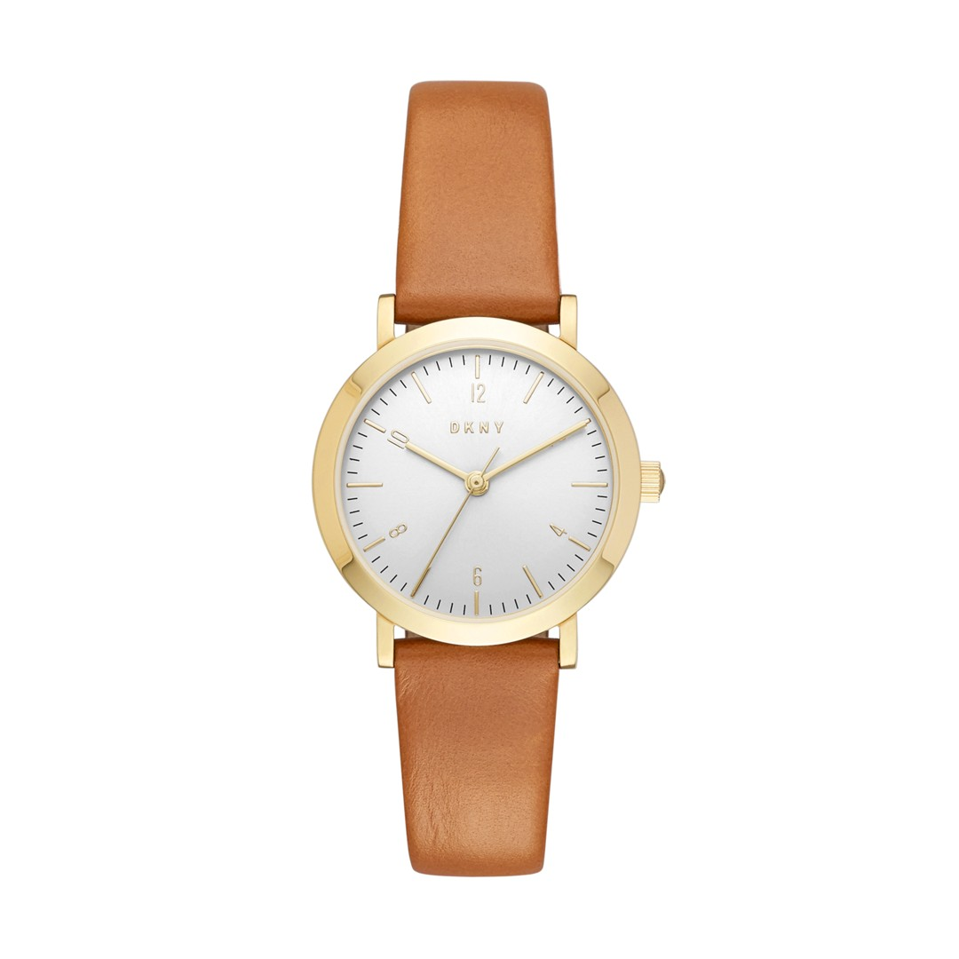 Dkny Dkny Women&Apos;S Minetta Gold-Tone And Brown Leather Three-Hand Watch ..