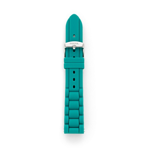 fossil Silicone 18mm Watch Strap - Teal S181150