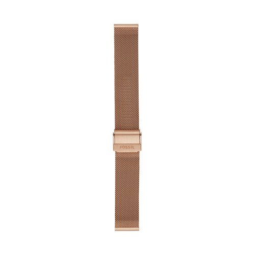 Fossil 18mm Rose-Gold Tone Steel Mesh Bracelet S181375