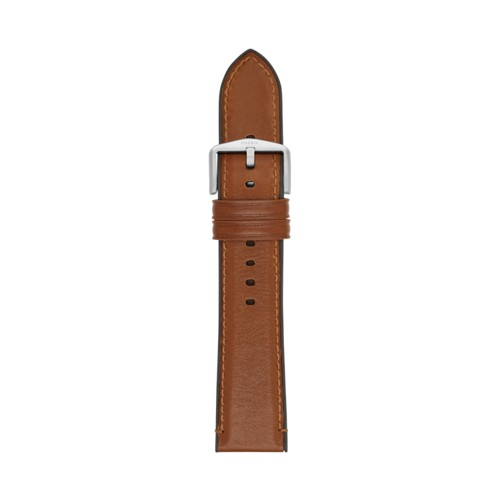 Estate 22mm Light Brown Leather and Silicone Watch Strap S221300
