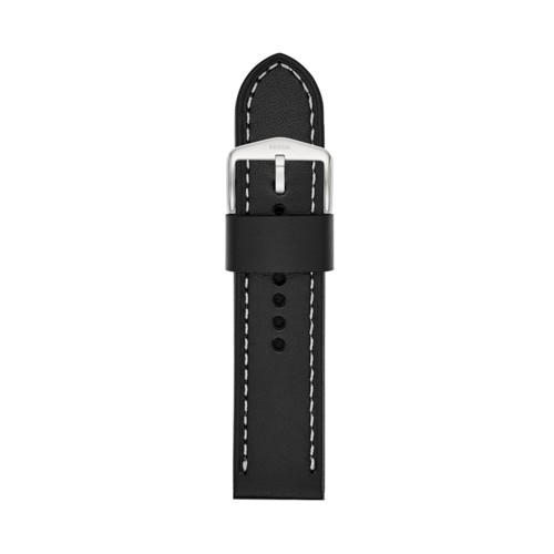 24mm Black Leather Watch Strap S241076