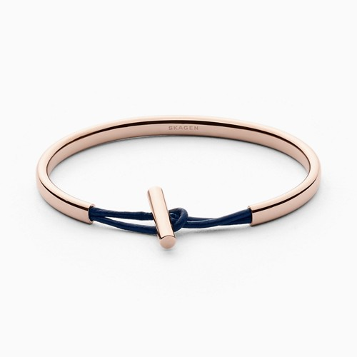 Skagen Anette Rose-Gold-Tone Steel And Leather Bangle Skj0983791
