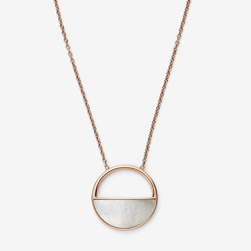Skagen Elin Rose-Gold-Tone And Mother-Of-Pearl Short Pendant Necklace Skj099..