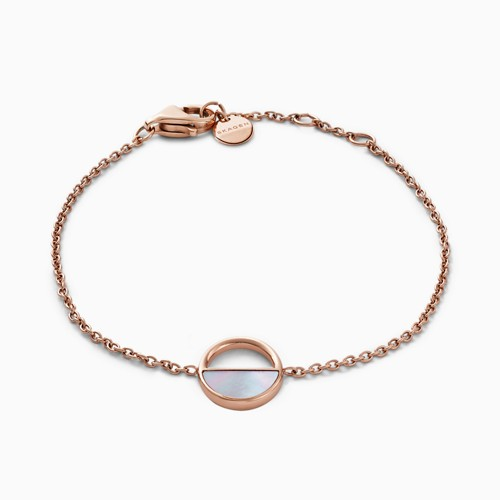 Skagen Agnethe Rose-Gold-Tone And Mother-Of-Pearl Bracelet Skj0999791 Jewelr..