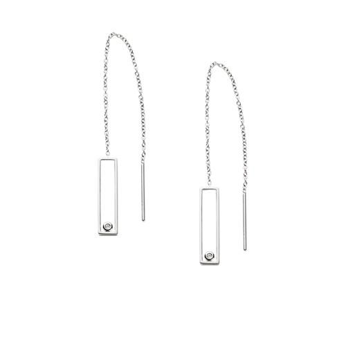 Skagen Elin Silver-Tone And Crystal Threader Earrings Skj1026040