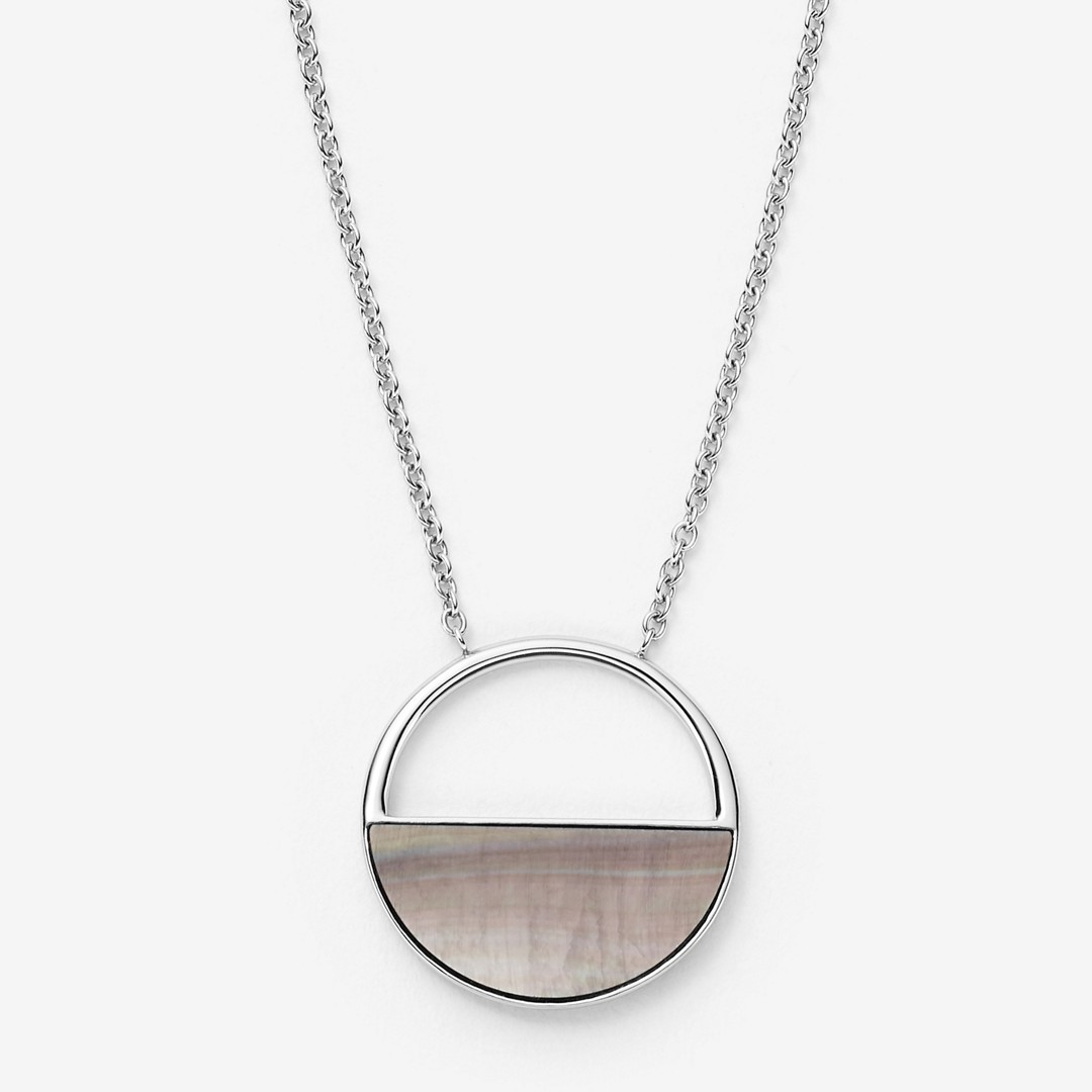 Skagen Agnethe Silver-Tone And Mother-Of-Pearl Short Pendant Necklace Skj1119040 Jewelry - SKJ1119040-WSI
