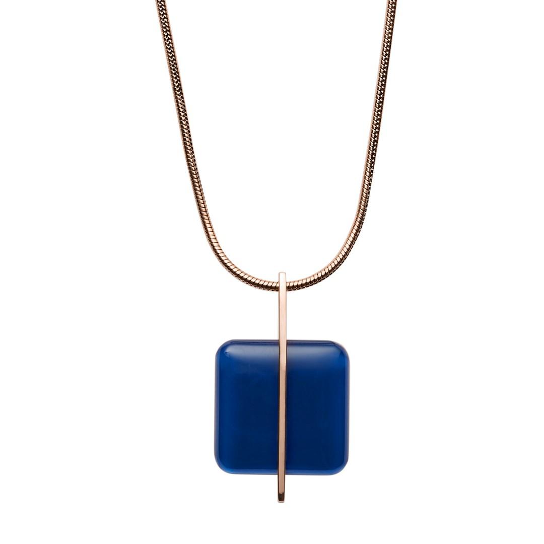 Skagen Blue Sea Glass Rose-Gold-Tone Necklace Skj1134791 Jewelry - SKJ1134791-WSI