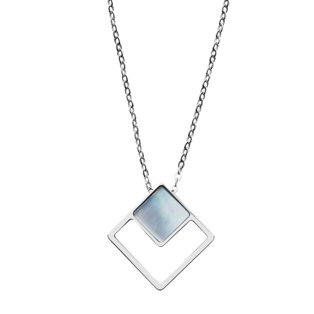 Skagen Agnethe Silver-Tone Mother-Of-Pearl Square Pendant Necklace Skj1180040 Jewelry - SKJ1180040-WSI