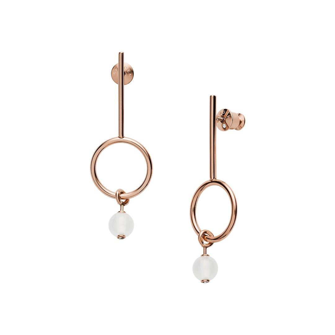 Skagen Sea Glass Beaded Rose-Tone Earrings Skj1202791 Jewelry - SKJ1202791-WSI
