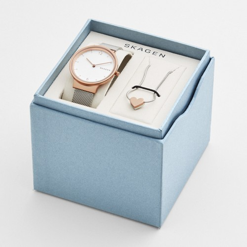 Skagen Ancher Steel-Mesh Watch And Katrine Necklace Box Set Skw1086 White