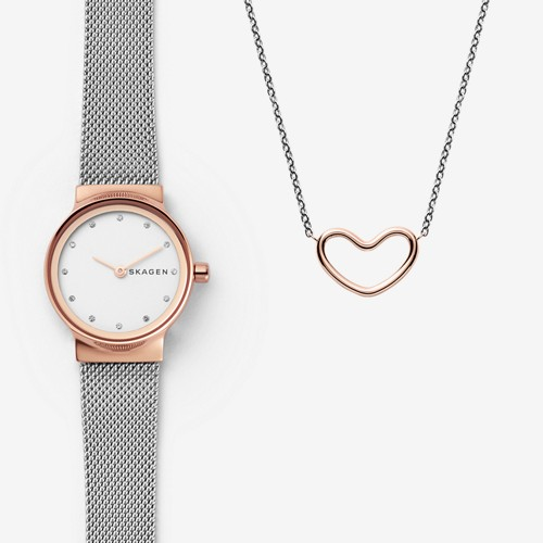 Skagen Freja Two-Tone Steel-Mesh Watch And Katrine Necklace Gift Set Skw1101..