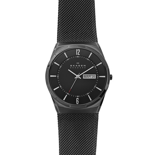 Skagen Melbye Titanium And Black Steel-Mesh Day-Date Watch Skw6006 Watches -..