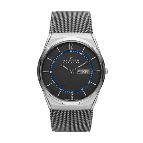 Skagen Melbye Titanium And Gray Steel-Mesh Day-Date Watch Skw6078 Watches - ..