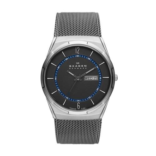 Skagen Melbye Titanium And Gray Steel-Mesh Day-Date Watch Skw6078 Watches - ..