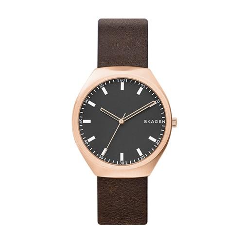 Skagen Grenen Brown Leather Watch Skw6402 Grey