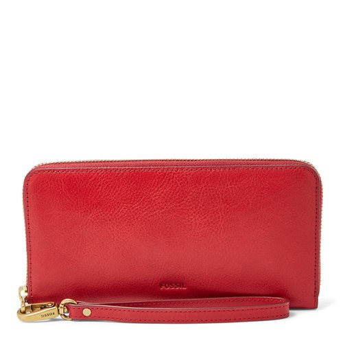 Fossil Emma Rfid Large Zip Clutch Sl7153627 Color: Red Velvet Wallet