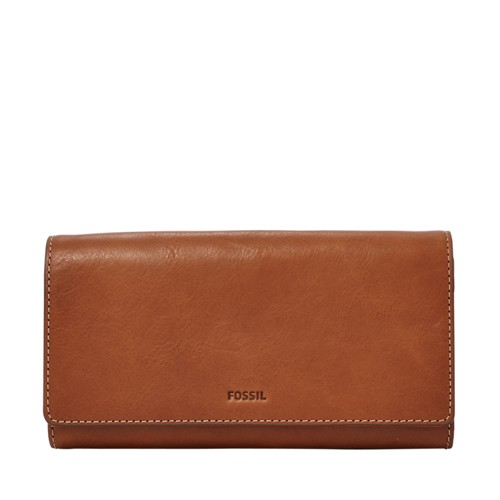 Fossil Emma Rfid Flap Clutch Sl7155200 Color: Brown Wallet