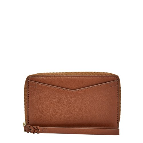 Fossil Caroline Rfid Smartphone Zip Around Wallet Sl7352200 Color: Brown Wallet