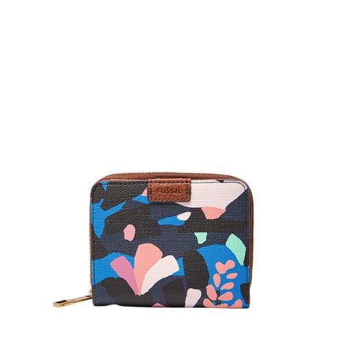 Fossil Emma Rfid Mini Multifunction Sl7373979 Color: Black Floral Wallet