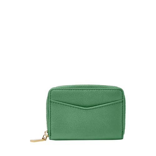 Fossil Rfid Mini Zip Card Case Sl7496342 Color: Spring Green Wallet