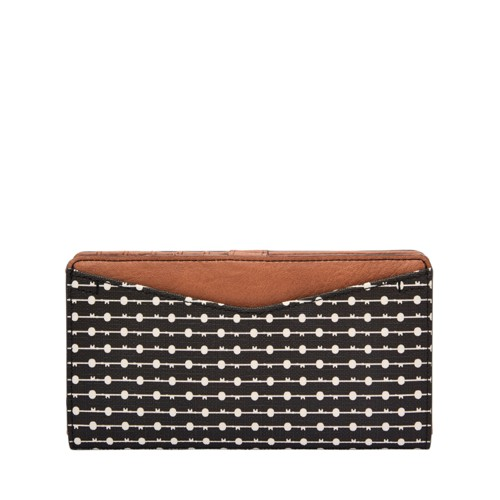 Fossil Caroline Rfid Slim Bifold Wallet Sl7592080 Color: Black/Cream Wallet