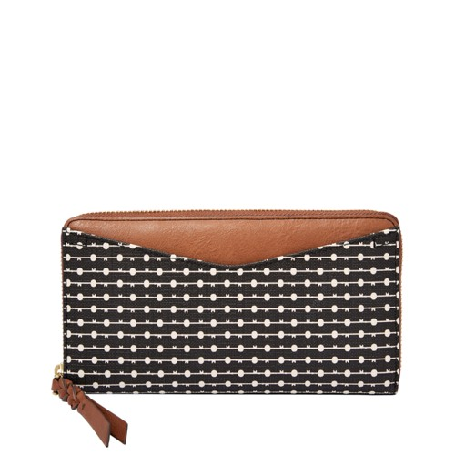Fossil Caroline Rfid Zip Around Wallet Sl7594080 Color: Black/Cream Wallet