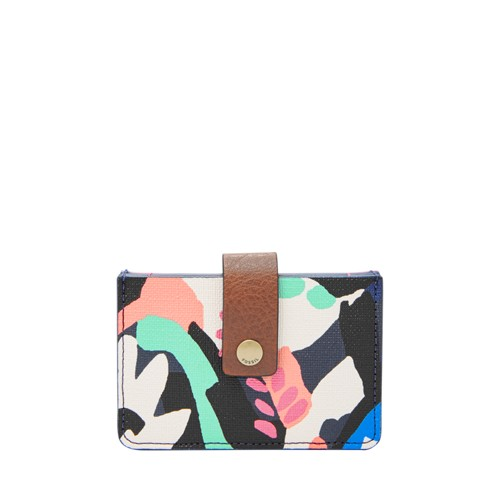 Fossil Mini Tab Wallet Sl7674979 Color: Black Floral Wallet