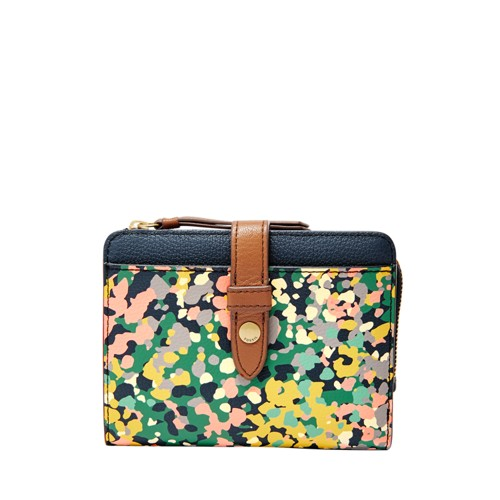 Fossil Fiona Tab Multifunction Sl7684677 Color: Pink Floral Wallet