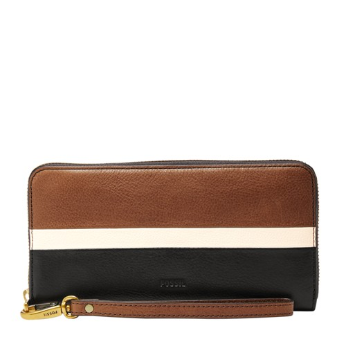 Fossil Emma Rfid Large Zip Clutch Sl7691994 Color: Neutral Multi Wallet