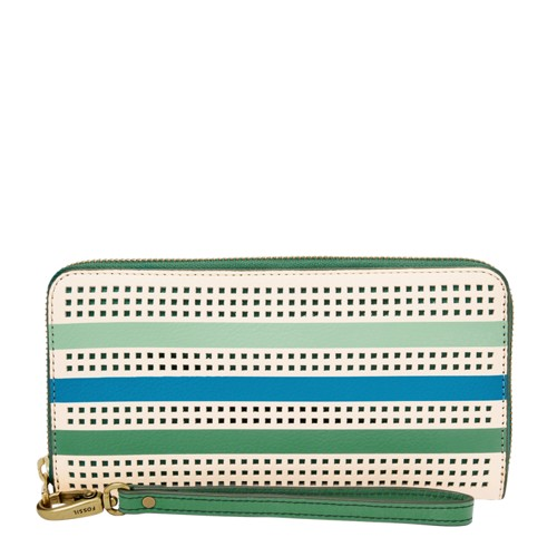 Fossil Emma Rfid Large Zip Clutch Sl7694342 Color: Spring Green Wallet