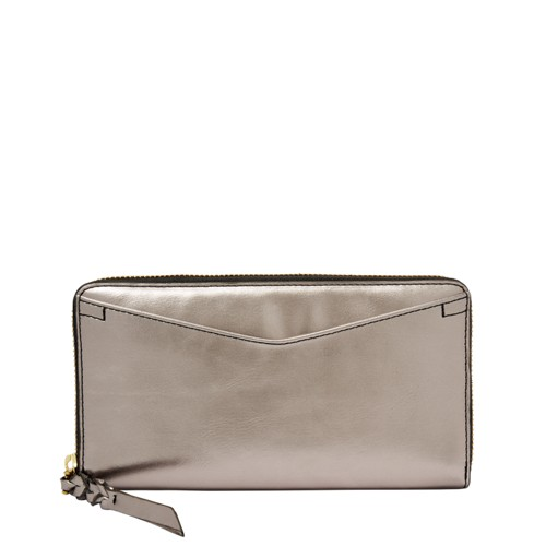 Fossil Caroline Rfid Zip Around Wallet Sl7699044 Color: Pewter Wallet