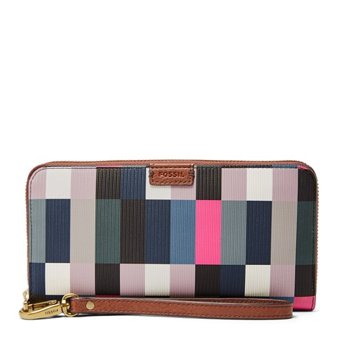 Fossil Emma Rfid Large Zip Clutch Sl7710997 Color: Bright Multi Wallet