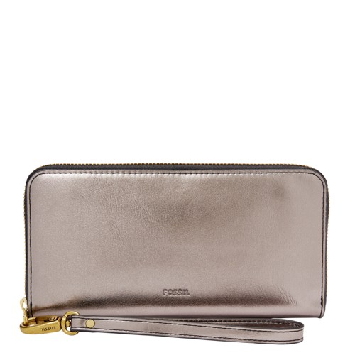 Fossil Emma Rfid Large Zip Clutch Sl7748044 Color: Pewter Wallet
