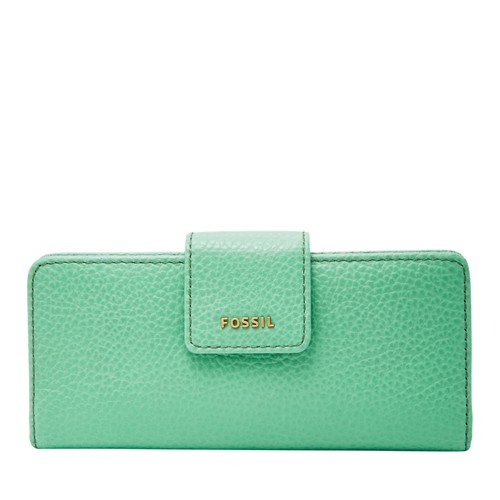 Fossil Madison Slim Clutch Swl1574342 Color: Spring Green Wallet