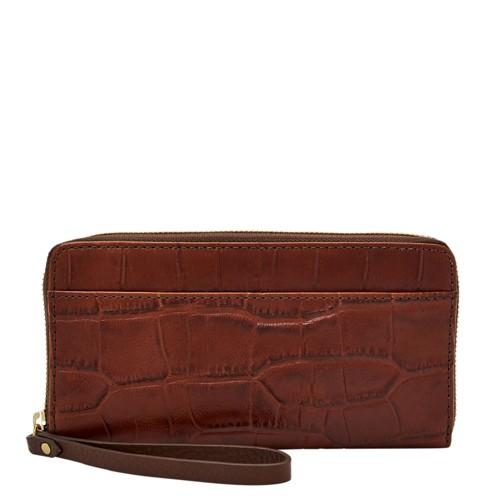 Fossil Jori Rfid Zip Clutch Swl1823204 Color: Brown Croco Wallet