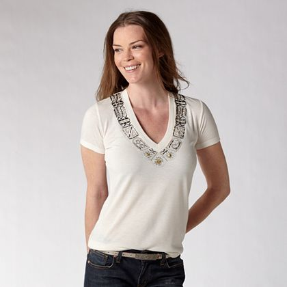 FOSSIL® Clothing Tops:Womens Alex Bead Tee WC2290 :  short sleeves embellishment white polyester