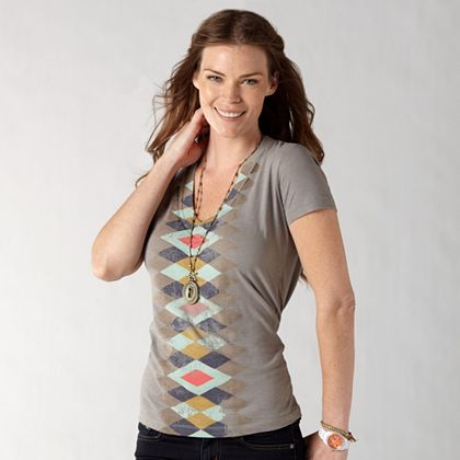 FOSSIL® Clothing Graphic Tees:Womens Worn Out Tee WC7848 :  symmetrical graphic t gray summer