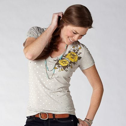 FOSSIL® Clothing Graphic Tees:Womens Rose and Carnation Tee WC7858 :  short sleeves polyester silver tee