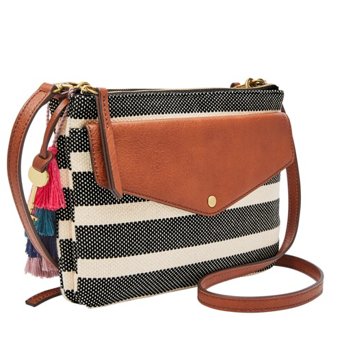 Fossil Devon Crossbody Zb7504080 Color: Black Stripe