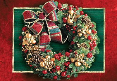 Traditional Holiday Wreath Christmas Card
