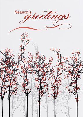 Vertical Red Berries Seasons Greeting Card