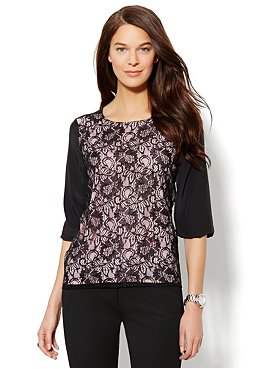Lace-Front Blouse