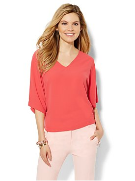 Cold Shoulder Dolman Sleeve Blouse