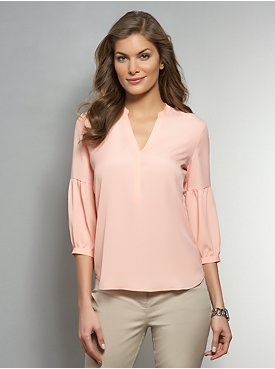Shirred Sleeve Popover Blouse