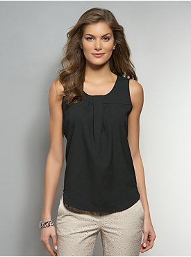 Twist-Neck Sleeveless Blouse