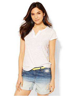 Cotton Blend Ribbed V-Neck Tee