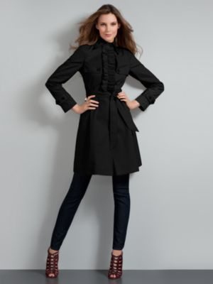 New York & Company Women's Black Belted Ruffle Trench